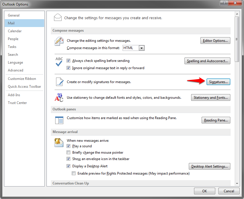 how to add signature in outlook 2013