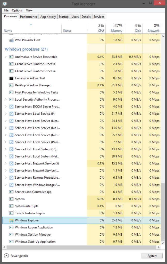 Unlike previous versions of Windows, Windows 8 smartly uses Restart instead of End Task for Windows Explorer's Task Manager entry