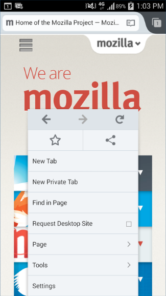 Context menu in Firefox for Android