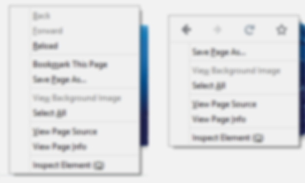 Squint test of old (left) vs. new (right) context menu (Gaussian blur=3)