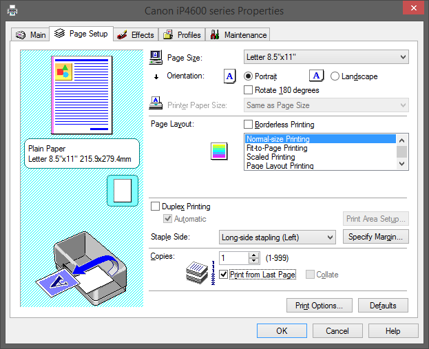 How to print pages in reverse order on any printer from any