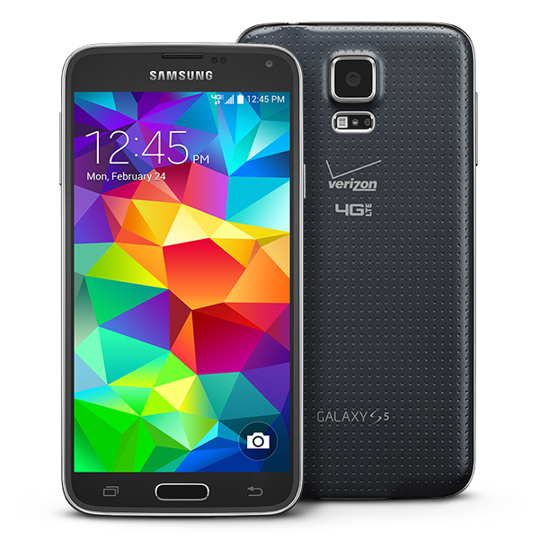 Which file systems and protocols does the Samsung Galaxy S5 support over USB OTG?