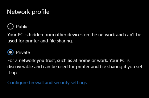 How to change Windows 10's network profile if the setting isn't there